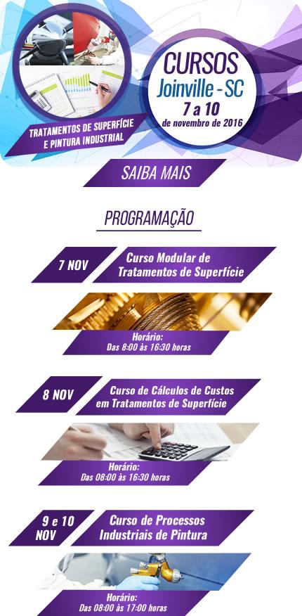 Cursos Joinville - SC - 7 a 10 de novembro de 2016